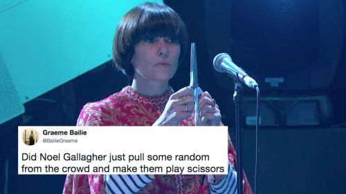 Noel Gallagher scissors player BBC Youtube